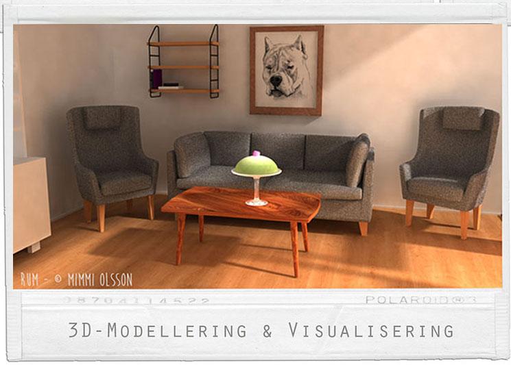 Rum- Fokus UV- mappning samt manuell ljusättning, 50-tals möbler.